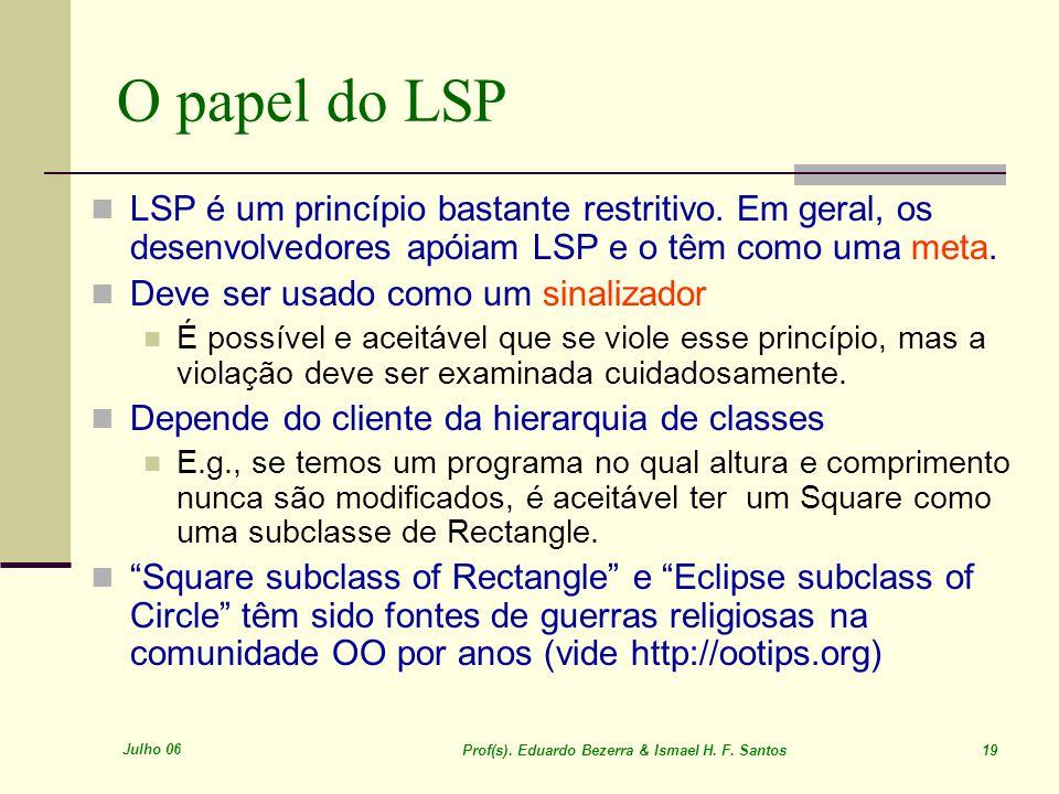 Julho 06 Prof(s). Eduardo Bezerra & Ismael H. F. Santos 19 O papel do LSP LSP é um princípio bastante restritivo. Em geral, os desenvolvedores apóiam