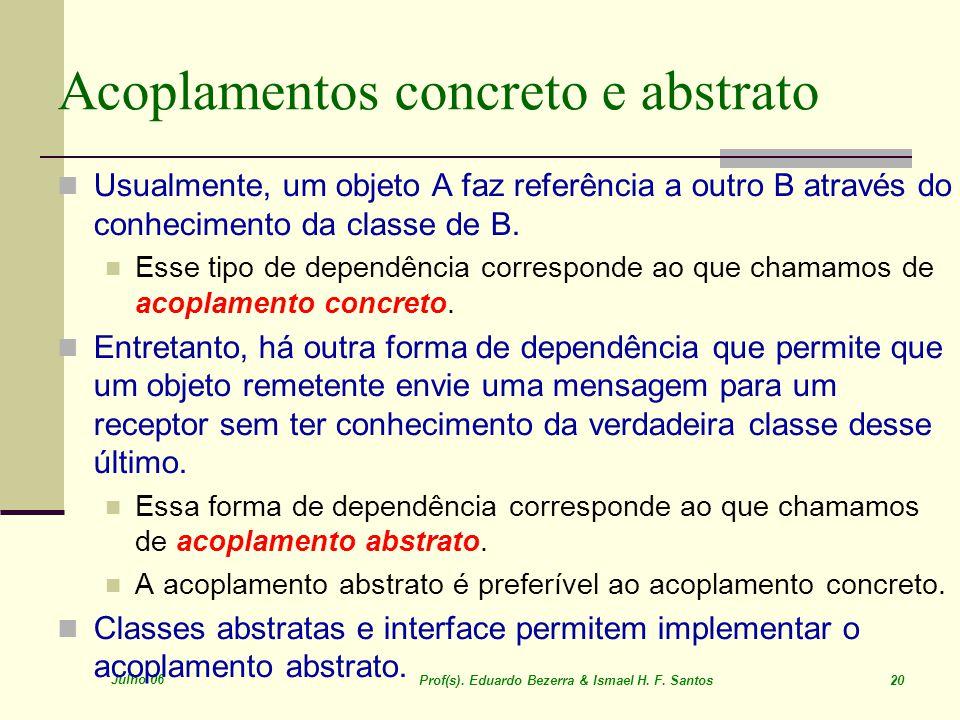 Julho 06 Prof(s). Eduardo Bezerra & Ismael H. F. Santos 20 Acoplamentos concreto e abstrato Usualmente, um objeto A faz referência a outro B através d