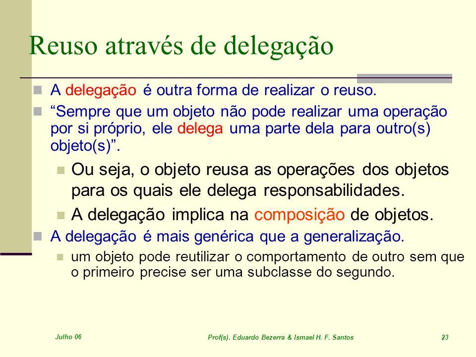 Julho 06 Prof(s). Eduardo Bezerra & Ismael H. F. Santos 23 Reuso através de delegação A delegação é outra forma de realizar o reuso. Sempre que um obj