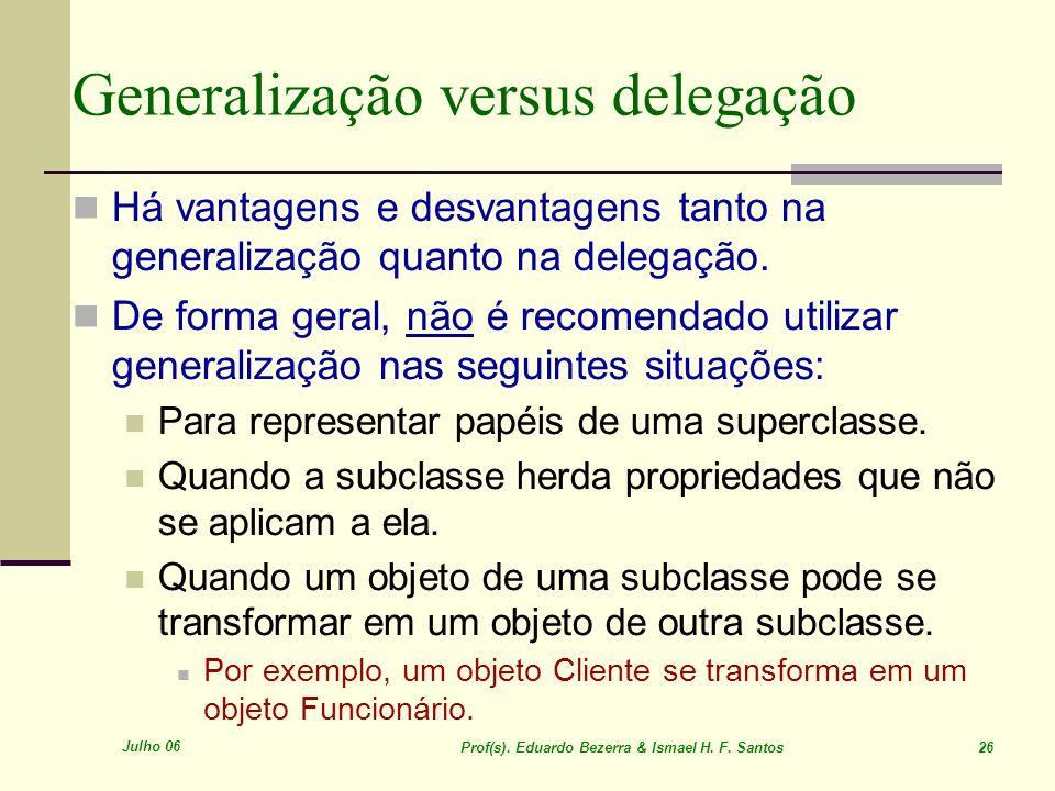 Julho 06 Prof(s). Eduardo Bezerra & Ismael H. F. Santos 26 Generalização versus delegação Há vantagens e desvantagens tanto na generalização quanto na