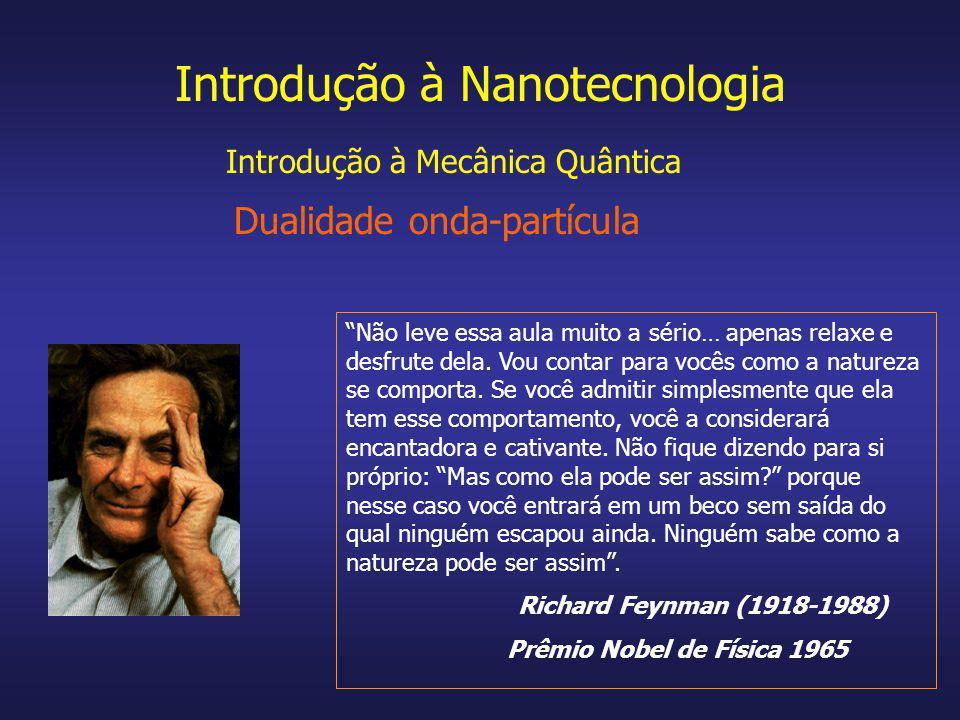 Introdução à Nanotecnologia Dualidade onda-partícula Não leve essa aula muito a sério… apenas relaxe e desfrute dela. Vou contar para vocês como a nat