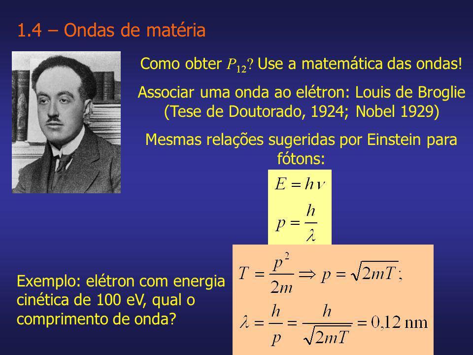 Como obter P 12 ? Use a matemática das ondas! Associar uma onda ao elétron: Louis de Broglie (Tese de Doutorado, 1924; Nobel 1929) Mesmas relações sug