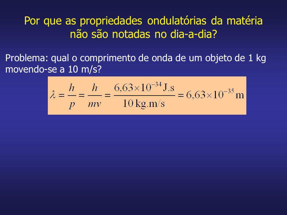 Por que as propriedades ondulatórias da matéria não são notadas no dia-a-dia? Problema: qual o comprimento de onda de um objeto de 1 kg movendo-se a 1