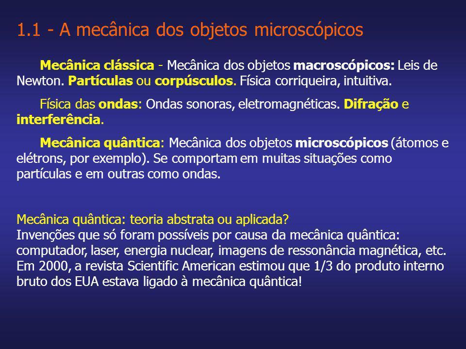 Mecânica clássica - Mecânica dos objetos macroscópicos: Leis de Newton. Partículas ou corpúsculos. Física corriqueira, intuitiva. Física das ondas: On