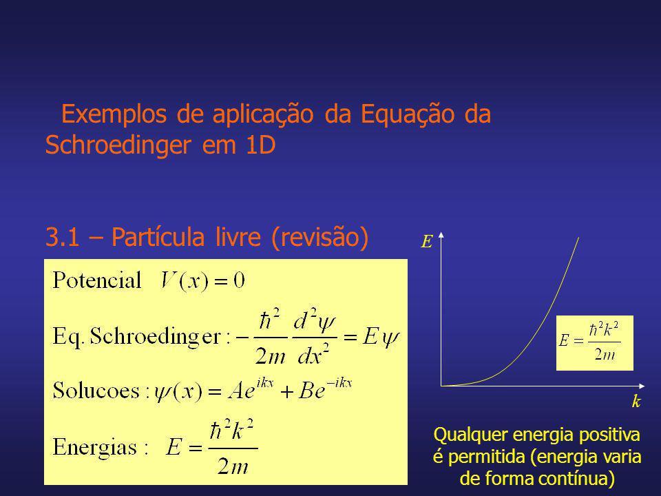 Exemplos de aplicação da Equação da Schroedinger em 1D 3.1 – Partícula livre (revisão) k E Qualquer energia positiva é permitida (energia varia de for