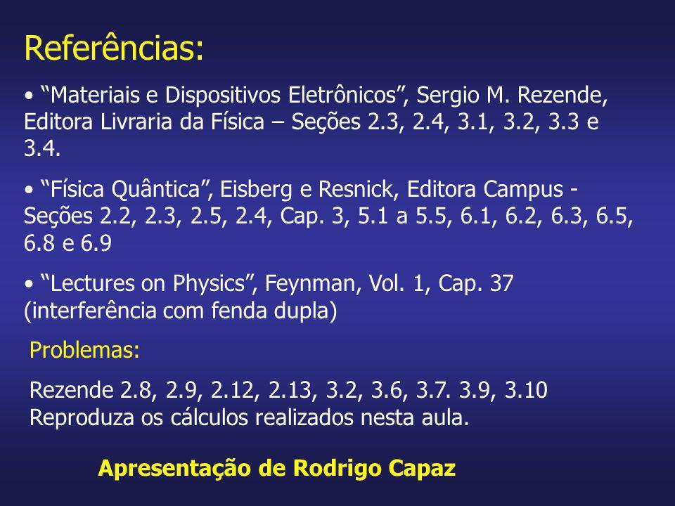 Referências: Materiais e Dispositivos Eletrônicos, Sergio M. Rezende, Editora Livraria da Física – Seções 2.3, 2.4, 3.1, 3.2, 3.3 e 3.4. Física Quânti