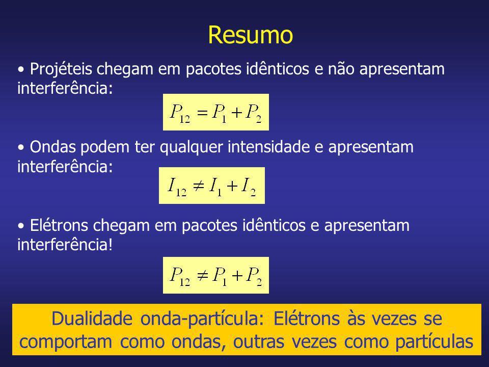 Resumo Projéteis chegam em pacotes idênticos e não apresentam interferência: Ondas podem ter qualquer intensidade e apresentam interferência: Elétrons