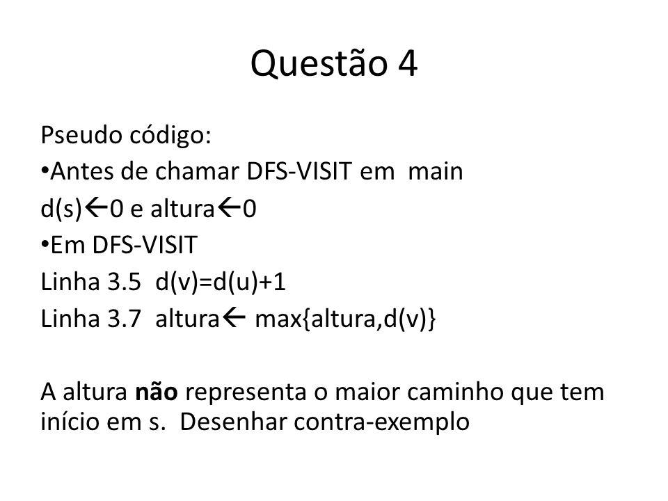 Questão 4 Pseudo código: Antes de chamar DFS-VISIT em main d(s) 0 e altura 0 Em DFS-VISIT Linha 3.5 d(v)=d(u)+1 Linha 3.7 altura max{altura,d(v)} A altura não representa o maior caminho que tem início em s.