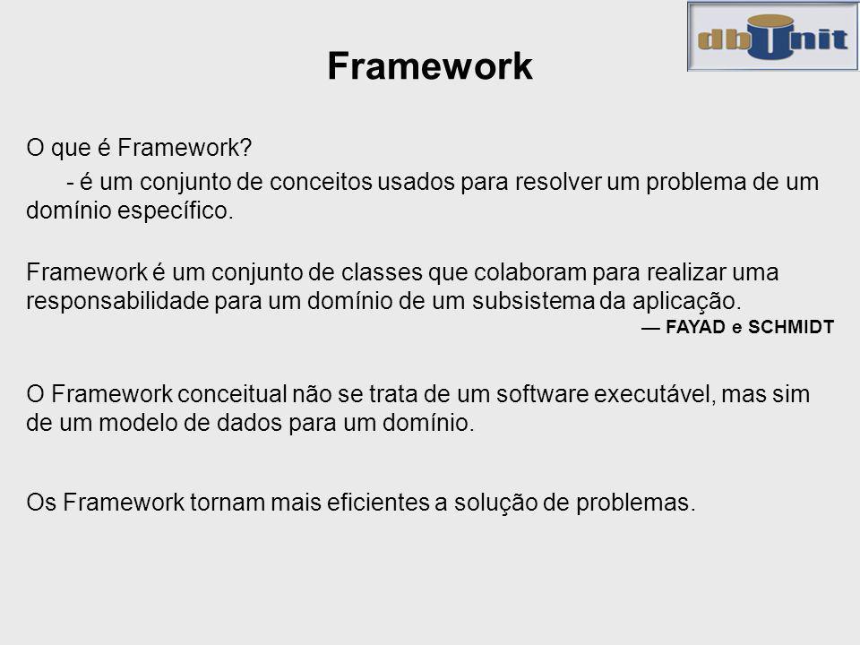 Framework O que é Framework? - é um conjunto de conceitos usados para resolver um problema de um domínio específico. Framework é um conjunto de classe