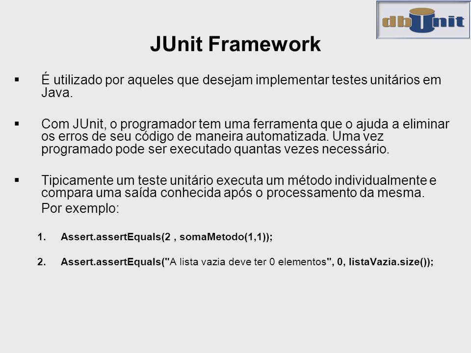 JUnit Framework É utilizado por aqueles que desejam implementar testes unitários em Java. Com JUnit, o programador tem uma ferramenta que o ajuda a el
