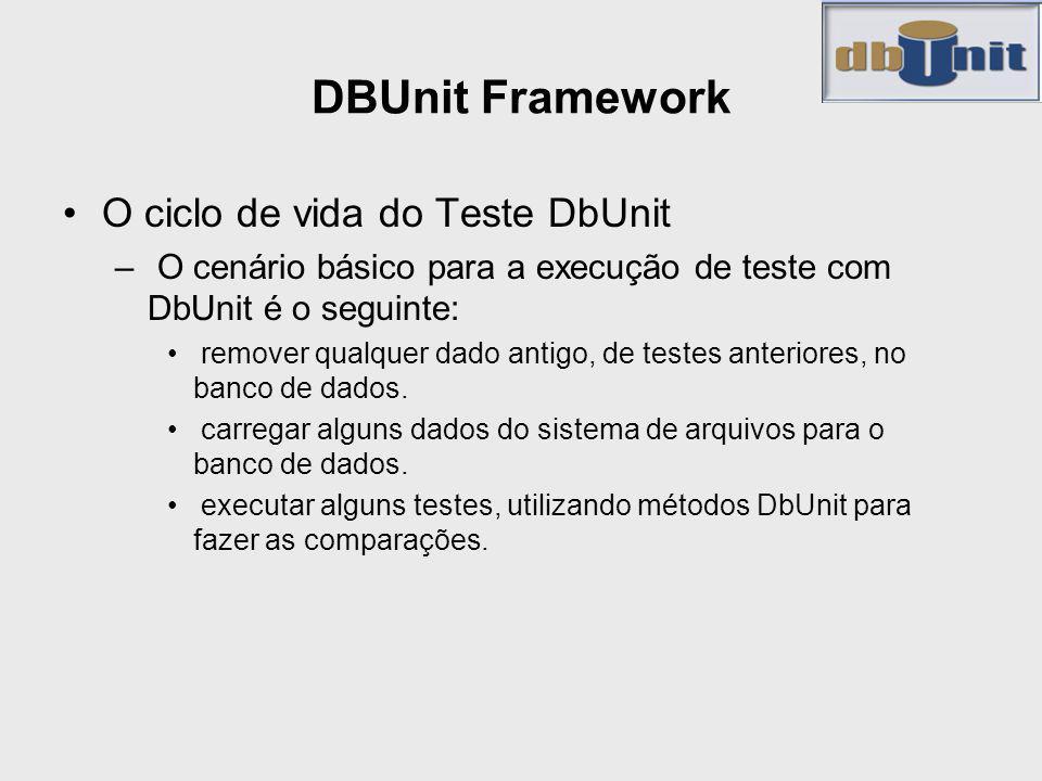 DBUnit Framework O ciclo de vida do Teste DbUnit – O cenário básico para a execução de teste com DbUnit é o seguinte: remover qualquer dado antigo, de