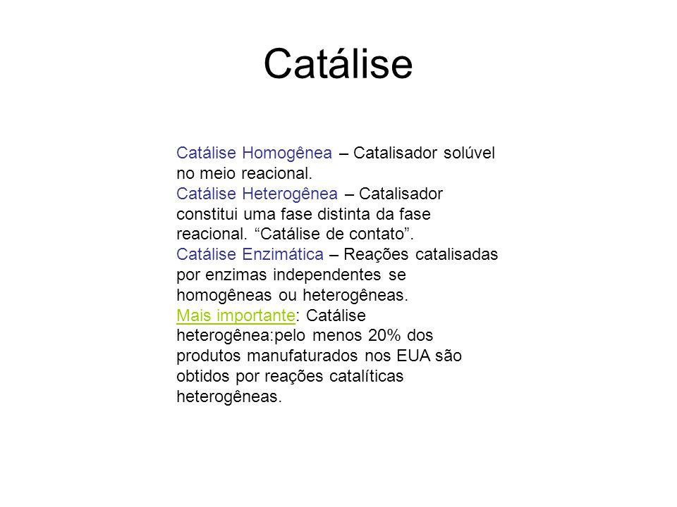 Catálise Catálise Homogênea – Catalisador solúvel no meio reacional.
