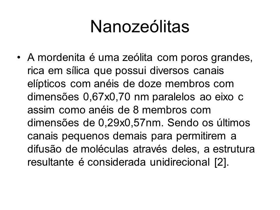 Nanozeólitas A mordenita é uma zeólita com poros grandes, rica em sílica que possui diversos canais elípticos com anéis de doze membros com dimensões 0,67x0,70 nm paralelos ao eixo c assim como anéis de 8 membros com dimensões de 0,29x0,57nm.