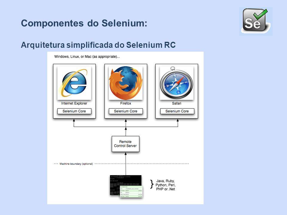 Componentes do Selenium: Selenium RC ( Remote Control) é ideal para testar interfaces web complexas baseadas em AJAX sob sistemas de integração continuas.