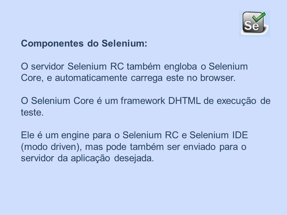 Componentes do Selenium: Selenium RC ( Remote Control) Selenium IDE É um ambiente de desenvolvimento integrado para testes do Selenium.