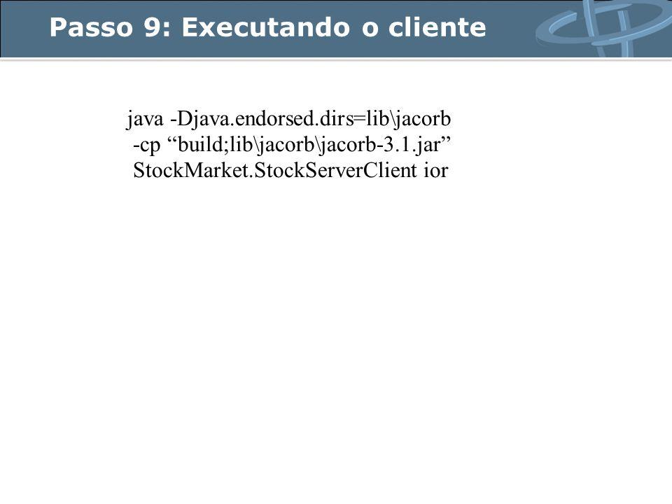 Passo 9: Executando o cliente java -Djava.endorsed.dirs=lib\jacorb -cp build;lib\jacorb\jacorb-3.1.jar StockMarket.StockServerClient ior