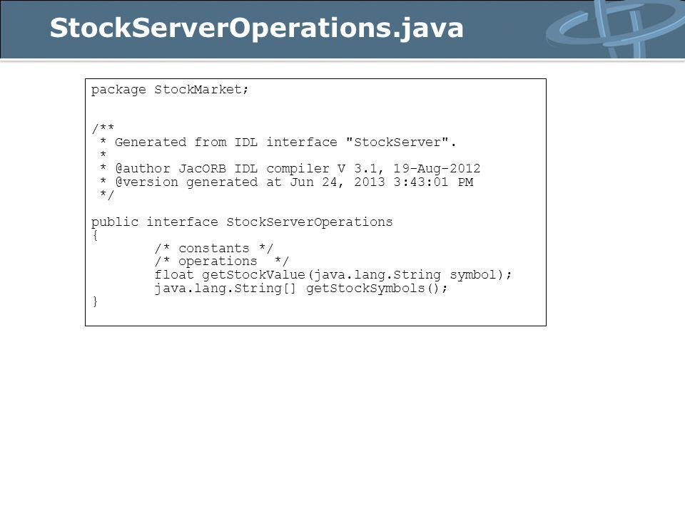 Cria o Servant que implementa a IDL Note que, até aqui, temos apenas um objeto Java instanciado Precisamos agora tornar esse objeto um objeto CORBA, capaz de receber as requisições dos clientes Usaremos, para isso, o POA