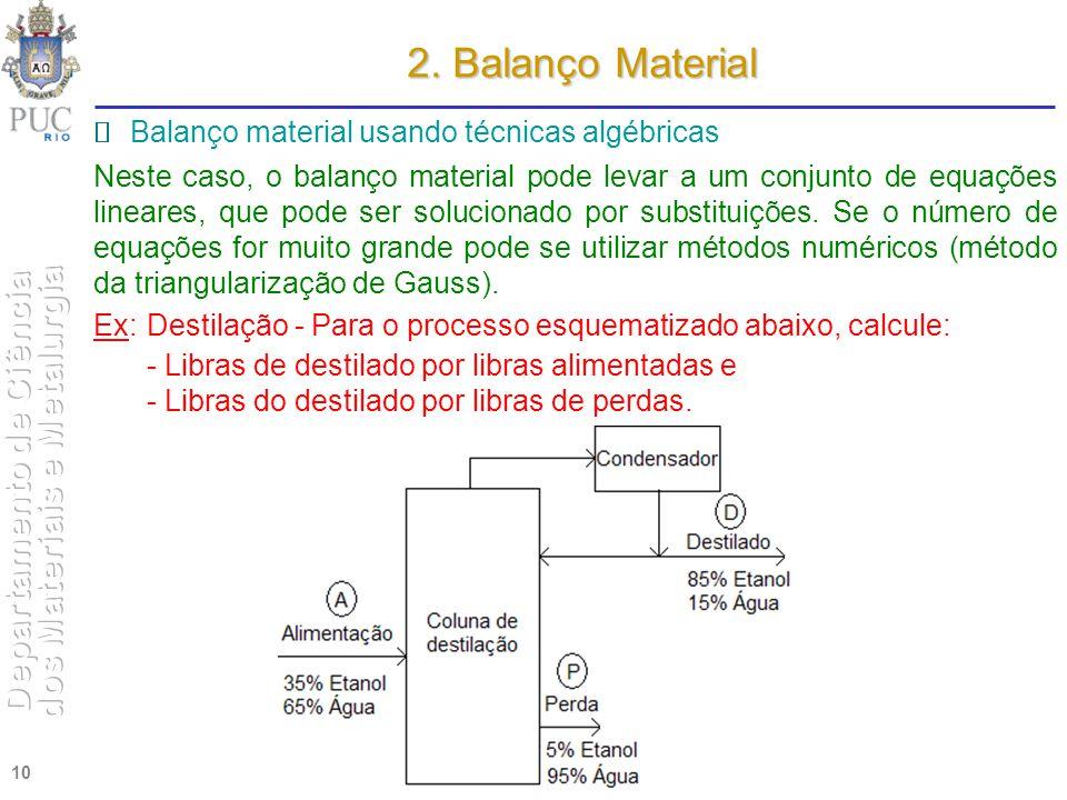 10 2. Balanço Material Balanço material usando técnicas algébricas Neste caso, o balanço material pode levar a um conjunto de equações lineares, que p