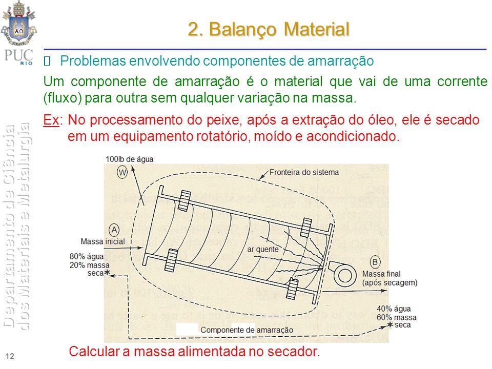 12 2. Balanço Material Problemas envolvendo componentes de amarração Um componente de amarração é o material que vai de uma corrente (fluxo) para outr