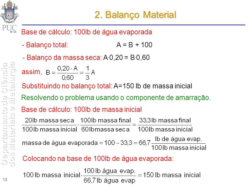 13 2. Balanço Material Base de cálculo: 100lb de água evaporada - Balanço total: A = B + 100 - Balanço da massa seca: A. 0,20 = B. 0,60 assim, Substit