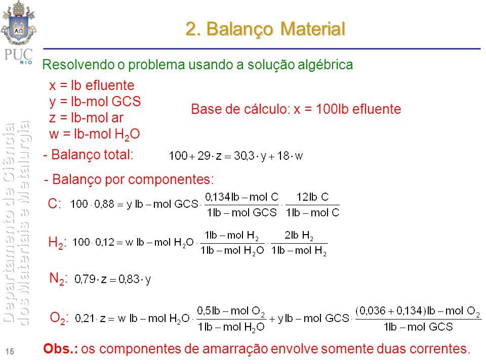 15 2. Balanço Material Resolvendo o problema usando a solução algébrica x = lb efluente y = lb-mol GCS z = lb-mol ar w = lb-mol H 2 O Base de cálculo: