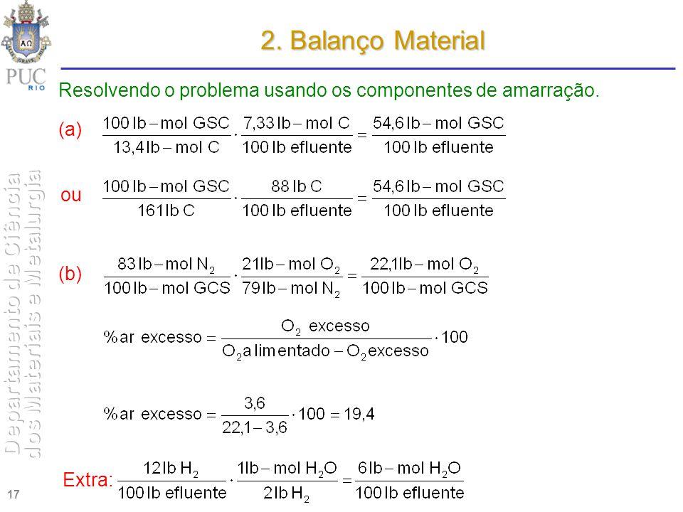 17 Resolvendo o problema usando os componentes de amarração. ou (a) (b) 2. Balanço Material Extra: