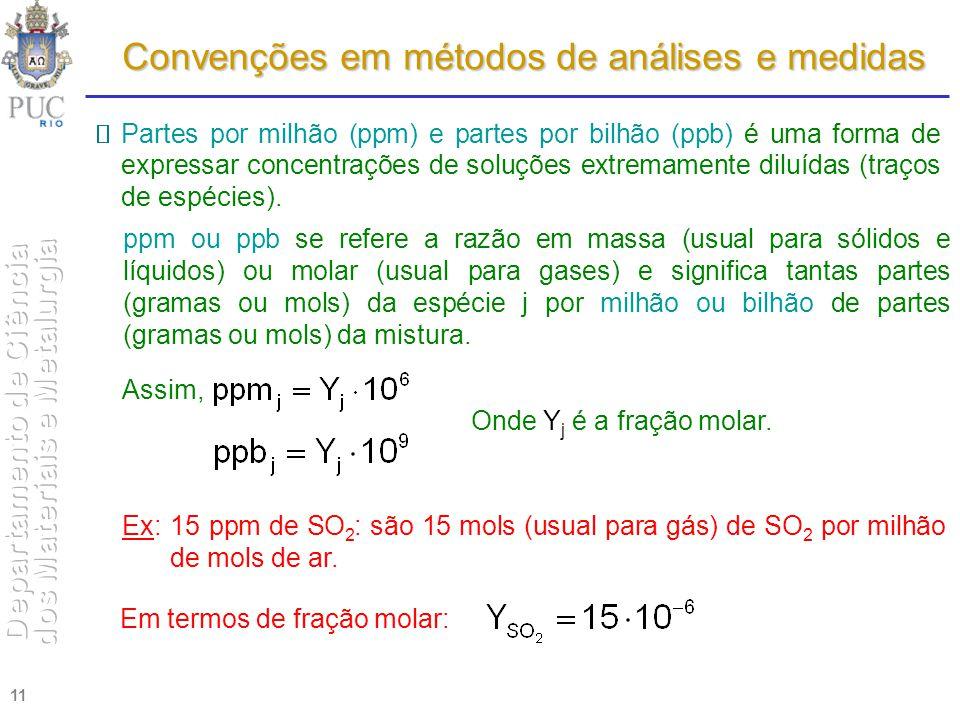 11 Convenções em métodos de análises e medidas Partes por milhão (ppm) e partes por bilhão (ppb) é uma forma de expressar concentrações de soluções ex