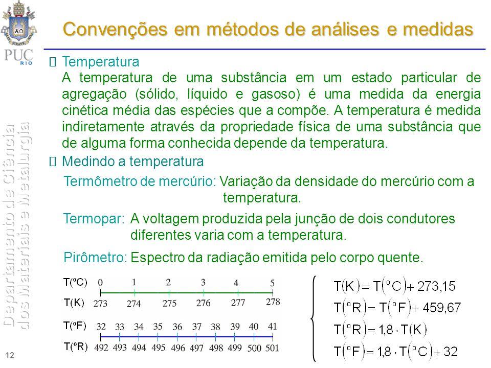 12 Convenções em métodos de análises e medidas Temperatura A temperatura de uma substância em um estado particular de agregação (sólido, líquido e gas