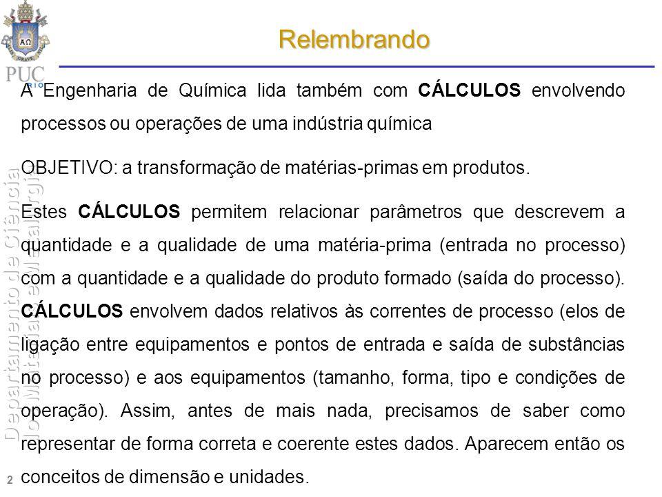 2 Relembrando A Engenharia de Química lida também com CÁLCULOS envolvendo processos ou operações de uma indústria química OBJETIVO: a transformação de