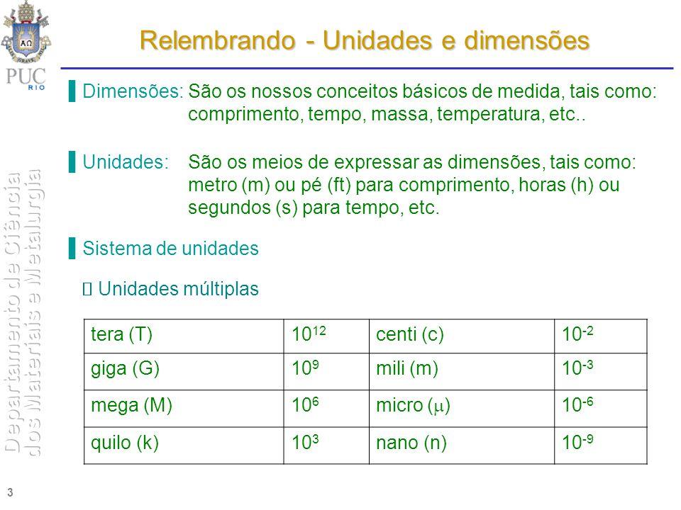 3 Relembrando - Unidades e dimensões Dimensões: São os nossos conceitos básicos de medida, tais como: comprimento, tempo, massa, temperatura, etc.. Un