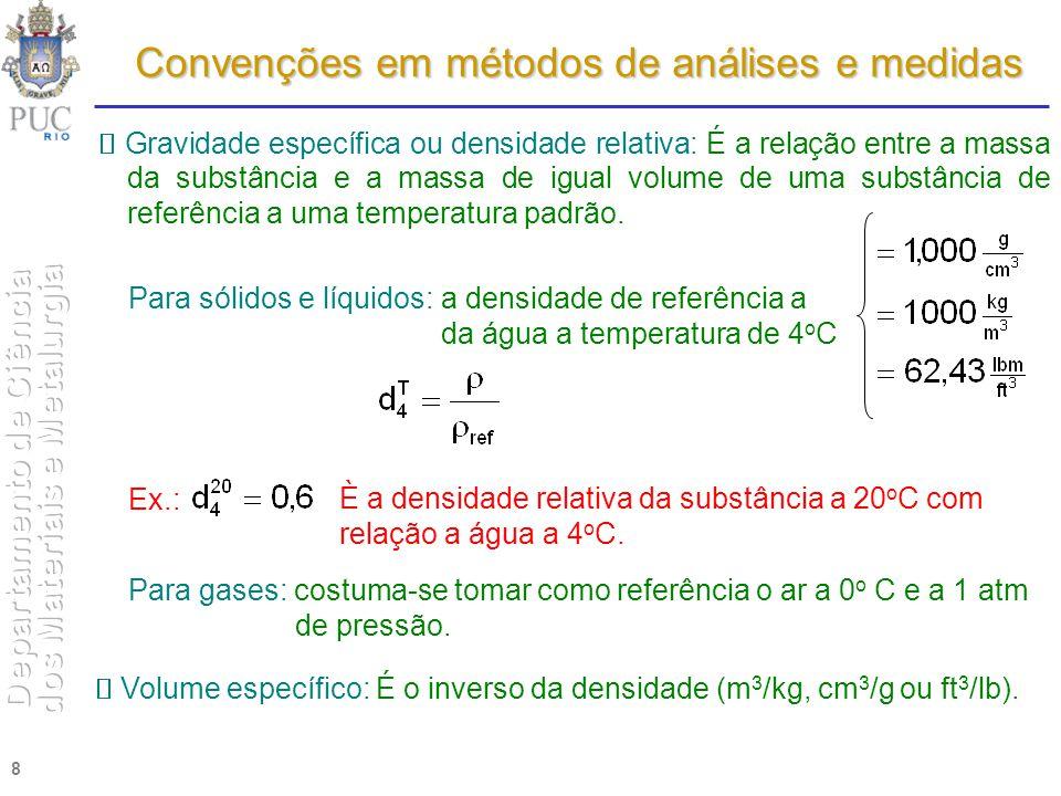 8 Gravidade específica ou densidade relativa: É a relação entre a massa da substância e a massa de igual volume de uma substância de referência a uma