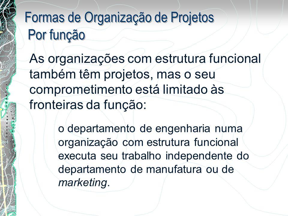 As organizações com estrutura funcional também têm projetos, mas o seu comprometimento está limitado às fronteiras da função: o departamento de engenh