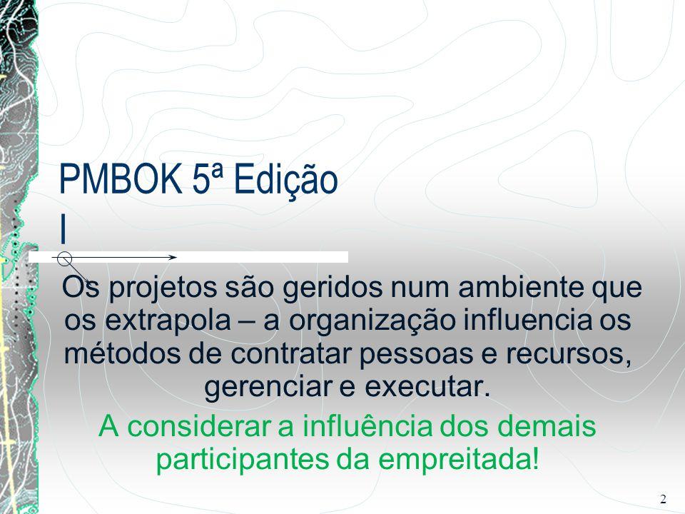 2 PMBOK 5ª Edição I Os projetos são geridos num ambiente que os extrapola – a organização influencia os métodos de contratar pessoas e recursos, geren