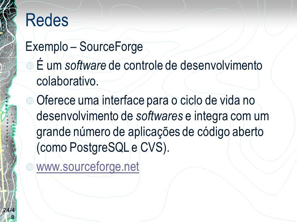 Redes Exemplo – SourceForge É um software de controle de desenvolvimento colaborativo. Oferece uma interface para o ciclo de vida no desenvolvimento d