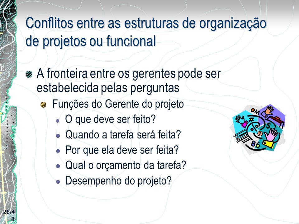 Conflitos entre as estruturas de organização de projetos ou funcional A fronteira entre os gerentes pode ser estabelecida pelas perguntas Funções do G