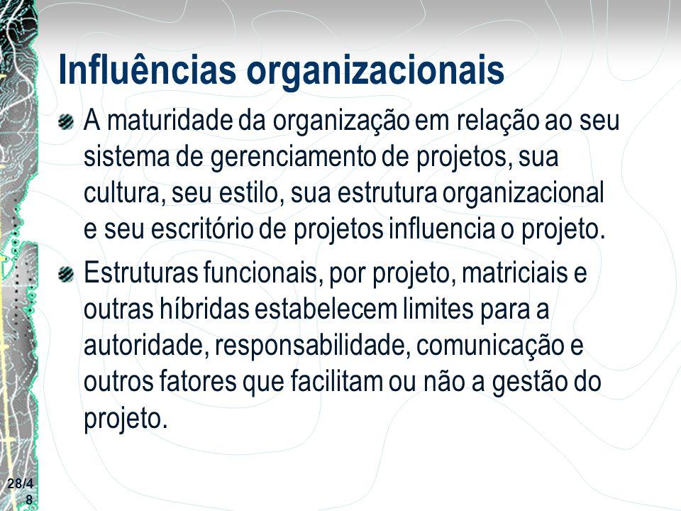 Influências organizacionais A maturidade da organização em relação ao seu sistema de gerenciamento de projetos, sua cultura, seu estilo, sua estrutura