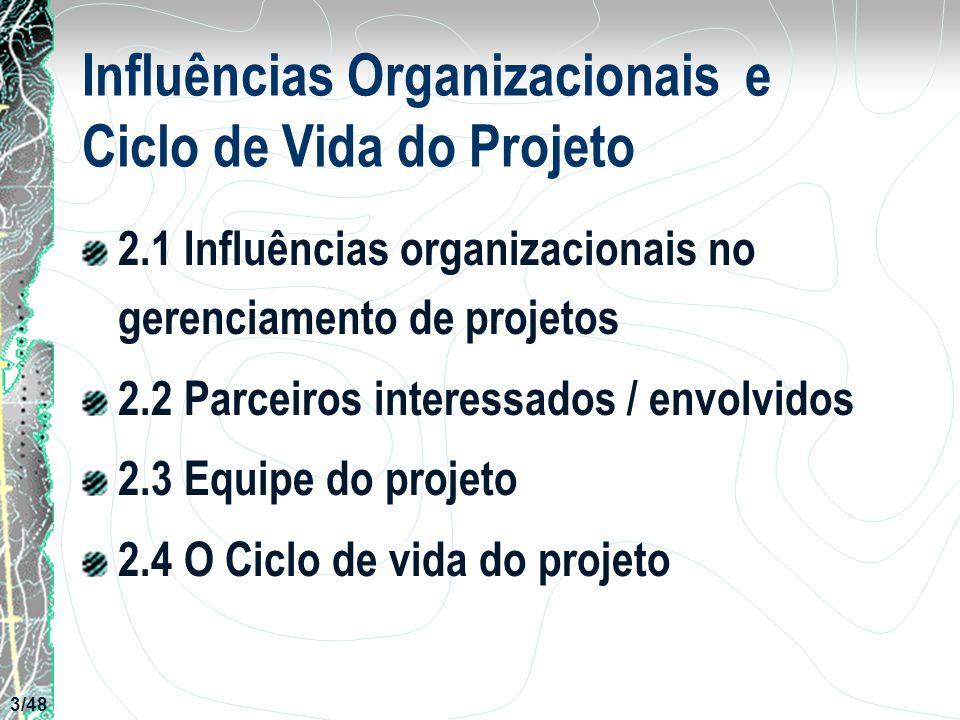 Influências Organizacionais e Ciclo de Vida do Projeto 2.1 Influências organizacionais no gerenciamento de projetos 2.2 Parceiros interessados / envol