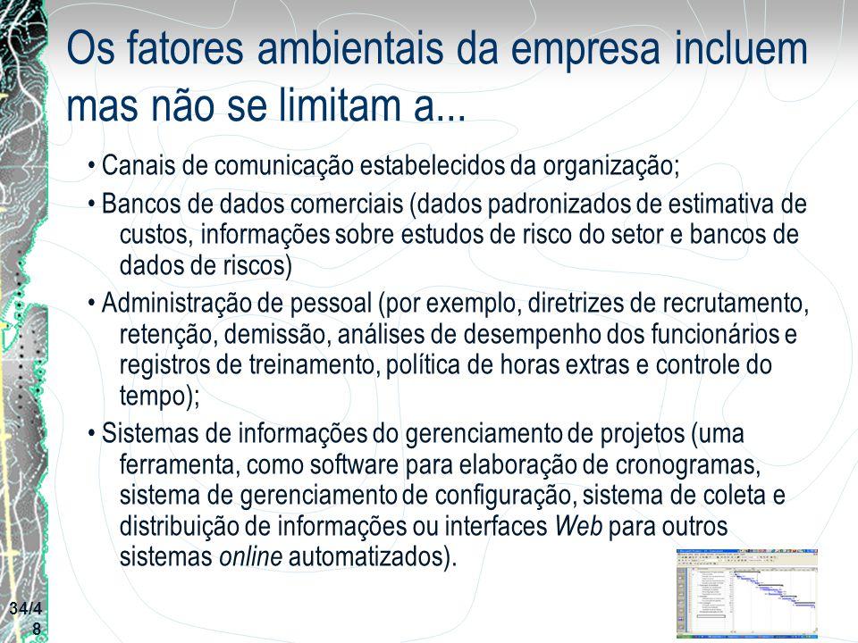 Os fatores ambientais da empresa incluem mas não se limitam a... Canais de comunicação estabelecidos da organização; Bancos de dados comerciais (dados