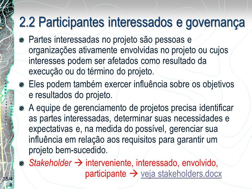 2.2 Participantes interessados e governança Partes interessadas no projeto são pessoas e organizações ativamente envolvidas no projeto ou cujos intere