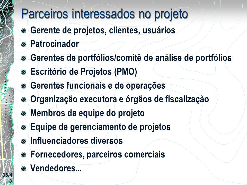 Parceiros interessados no projeto Gerente de projetos, clientes, usuários Patrocinador Gerentes de portfólios/comitê de análise de portfólios Escritór