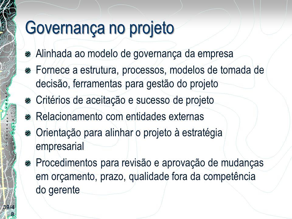 Governança no projeto Alinhada ao modelo de governança da empresa Fornece a estrutura, processos, modelos de tomada de decisão, ferramentas para gestã