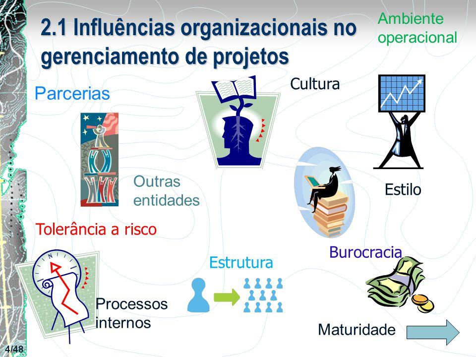2.1 Influências organizacionais no gerenciamento de projetos Parcerias Cultura Estilo Estrutura Burocracia Processos internos Outras entidades Maturid