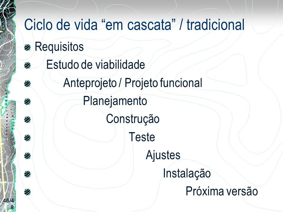 Ciclo de vida em cascata / tradicional Requisitos Estudo de viabilidade Anteprojeto / Projeto funcional Planejamento Construção Teste Ajustes Instalaç