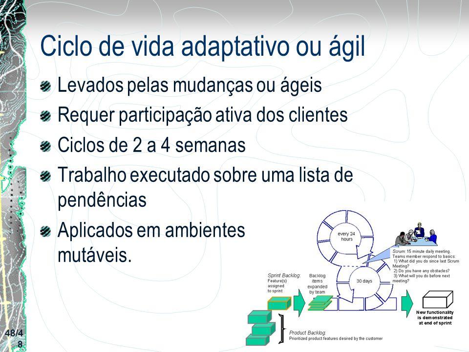 Ciclo de vida adaptativo ou ágil Levados pelas mudanças ou ágeis Requer participação ativa dos clientes Ciclos de 2 a 4 semanas Trabalho executado sob