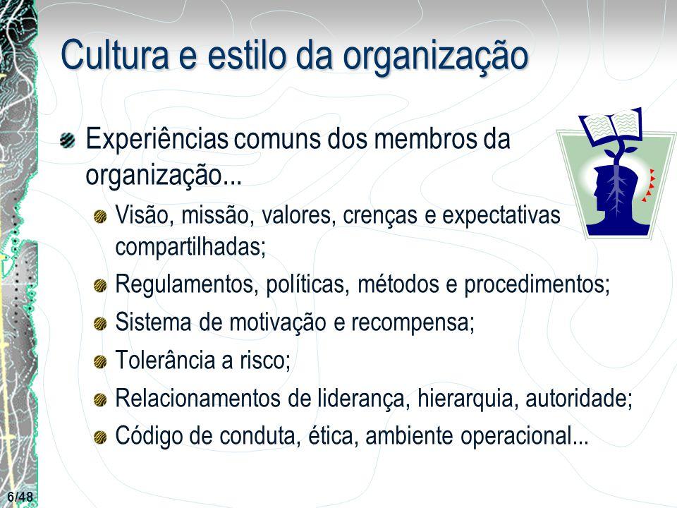 Cultura e estilo da organização Experiências comuns dos membros da organização... Visão, missão, valores, crenças e expectativas compartilhadas; Regul
