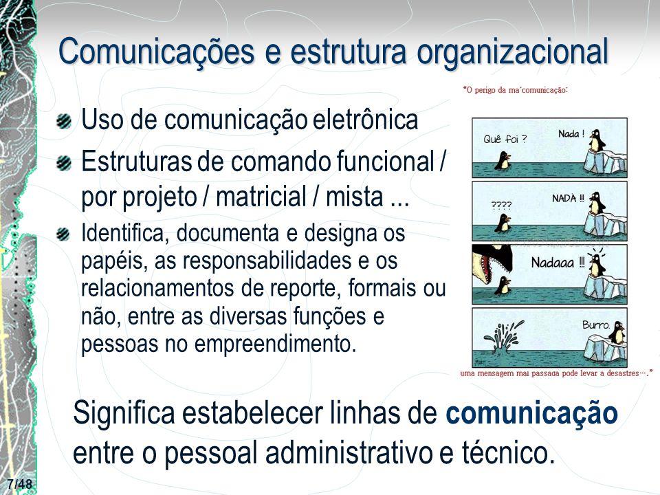 Comunicações e estrutura organizacional Uso de comunicação eletrônica Estruturas de comando funcional / por projeto / matricial / mista... Identifica,