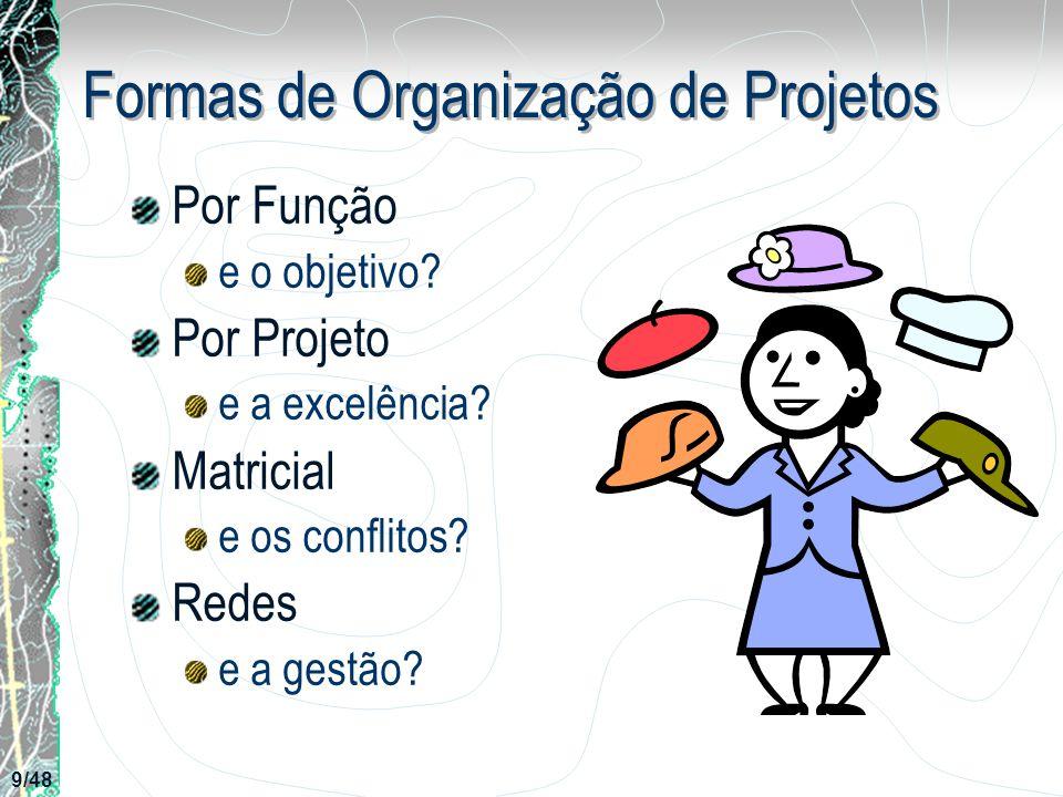 Formas de Organização de Projetos Por Função e o objetivo? Por Projeto e a excelência? Matricial e os conflitos? Redes e a gestão? 9/48