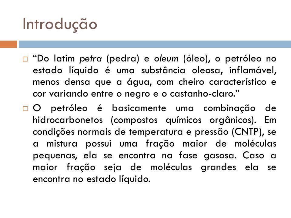 Introdução Do latim petra (pedra) e oleum (óleo), o petróleo no estado líquido é uma substância oleosa, inflamável, menos densa que a água, com cheiro