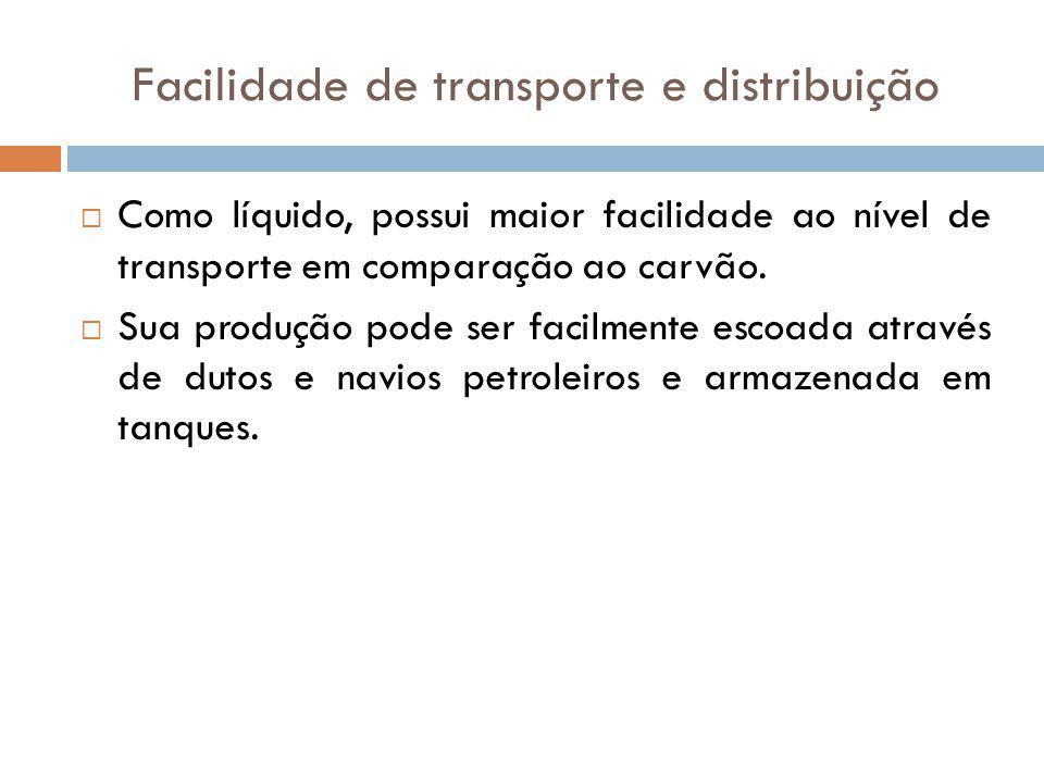 Facilidade de transporte e distribuição Como líquido, possui maior facilidade ao nível de transporte em comparação ao carvão. Sua produção pode ser fa