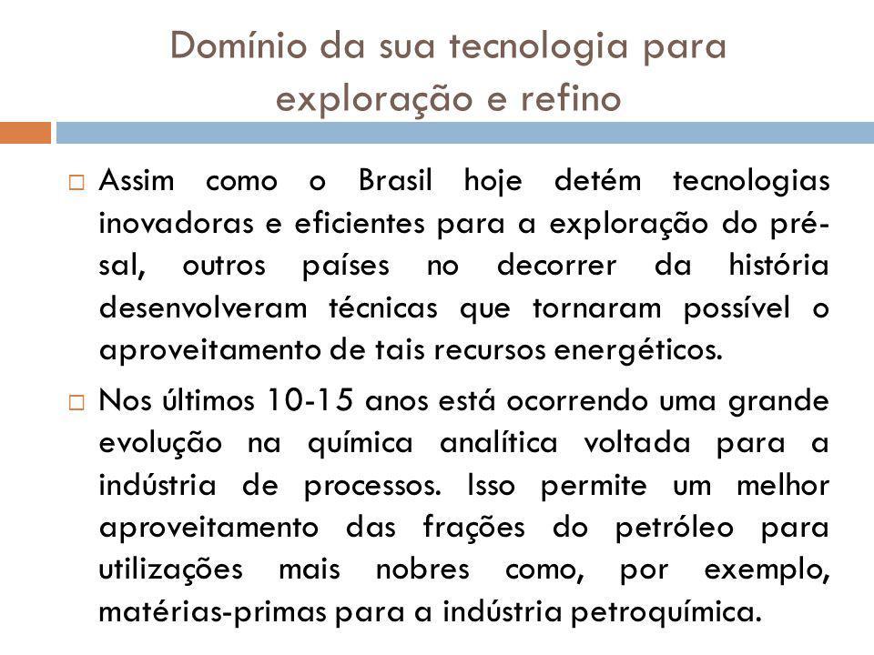 Domínio da sua tecnologia para exploração e refino Assim como o Brasil hoje detém tecnologias inovadoras e eficientes para a exploração do pré- sal, o